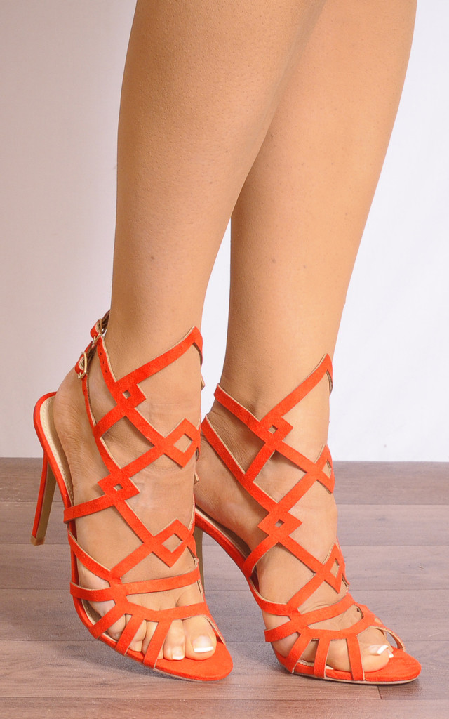 Orange Ankle Straps Strappy Sandals Peep Toes High Heels by Shoe Closet