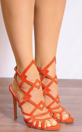 Orange Ankle Straps Strappy Sandals Peep Toes High Heels