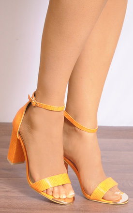 Orange Lizard Print Barely There Ankle Strap Strappy Sandals High Heels by Shoe Closet