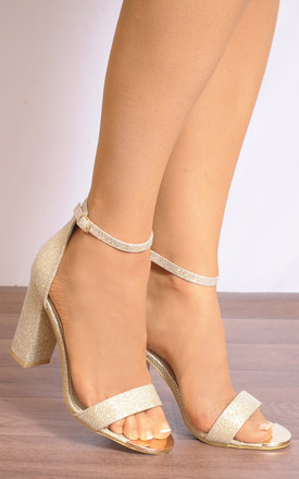 Gold Glitter Shimmer Barely There Ankle Strap Strappy Sandals High Heels by Shoe Closet