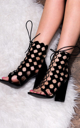 CHILL Lace Up Block Heel Wedding Bridal Shoes - Black Suede Style by SpyLoveBuy