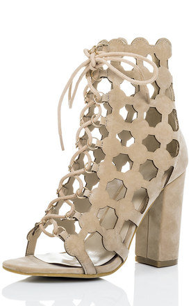 CHILL Lace Up Block Heel Wedding Bridal Shoes - Nude Suede Style by SpyLoveBuy