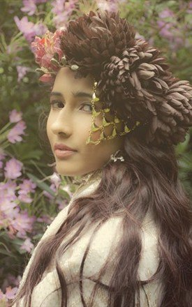 Gold chain flower garland headdress by Kate Coleman