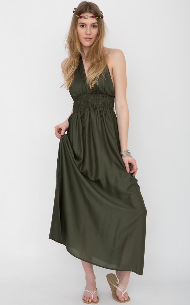 Low Back Halter Maxi Dress Khaki by likemary