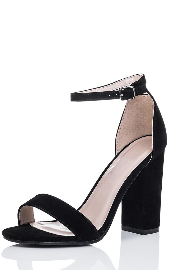 29ea91b47c SASS Block Heel Barely There Sandals Shoes - Black Suede Style by SpyLoveBuy