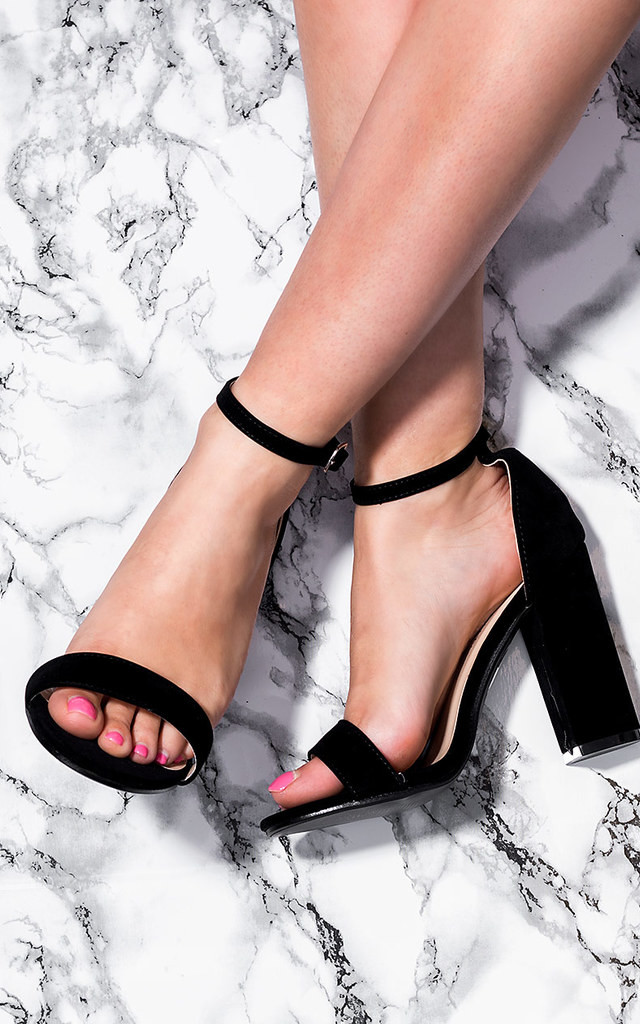 SASS Block Heel Barely There Sandals Shoes - Black Suede Style by SpyLoveBuy