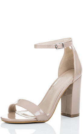 SASS Barely There Block Heel Sandals Shoes - Nude Patent by SpyLoveBuy