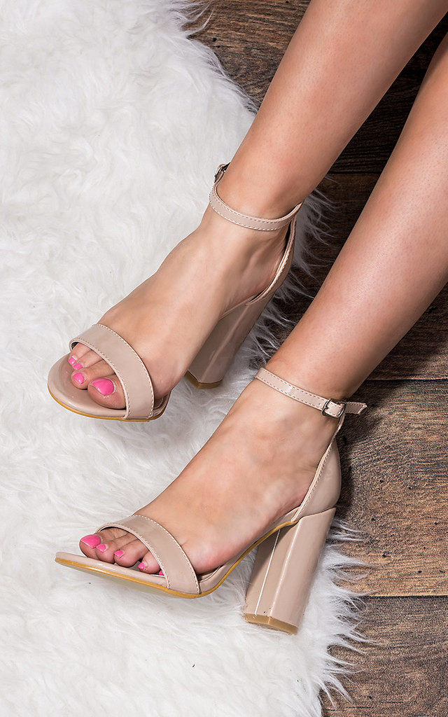 c882de7ff9d Sass Barely There Block Heel Sandals Shoes Nude Patent By SpyLoveBuy