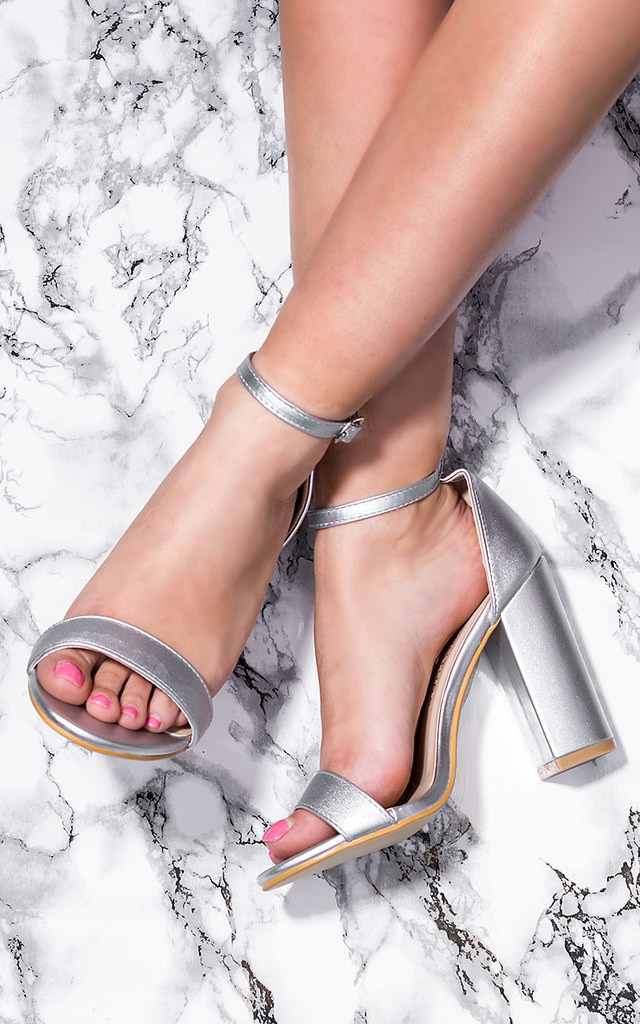 7f5a30c638 SASS Block Heel Barely There Sandals Shoes - Silver Leather Style by  SpyLoveBuy