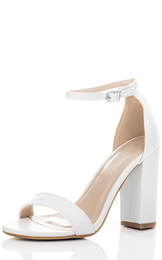 SASS Open Peep Toe Block Heel Sandals Shoes - White Leather Style by SpyLoveBuy