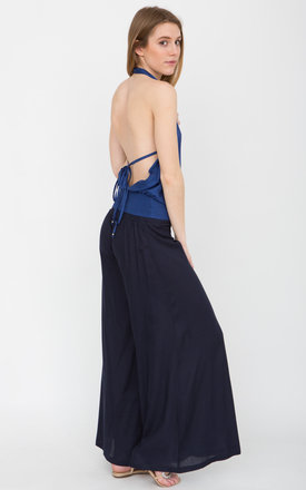 Wide Leg Navy Flare Trousers by likemary
