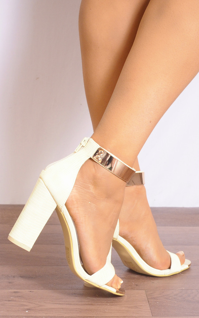 Beige Lizard Print Gold Ankle Strap Strappy Sandals High Heels by Shoe Closet