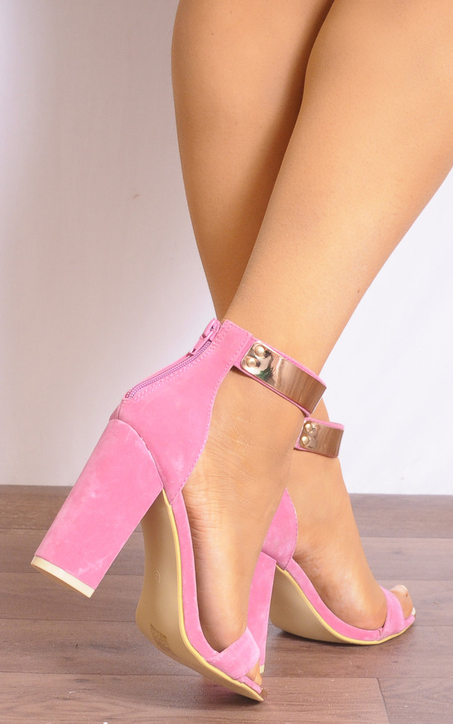 Candy Pink Gold Metal Ankle Strap Strappy Sandals High Heels by Shoe Closet