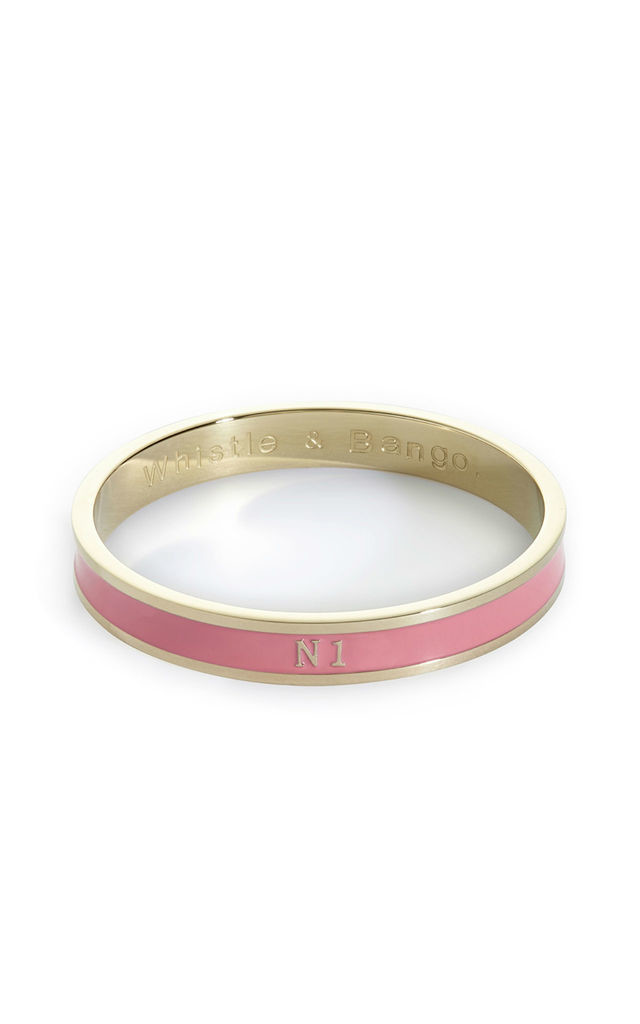 'N1' London Postcode Bangle in Pink/Gold by Florence London