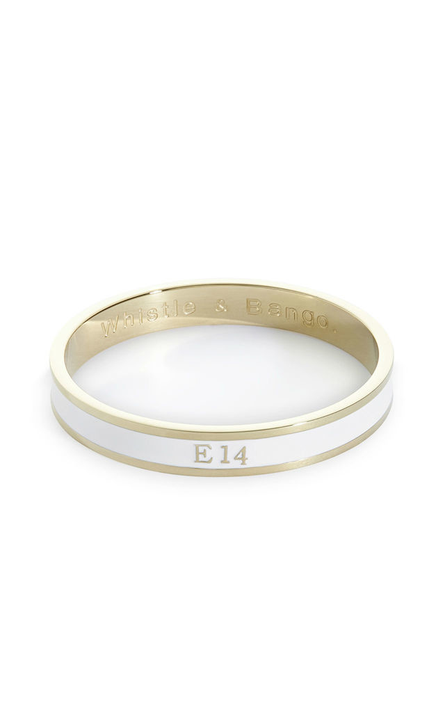 E14 Postcode bangle by Whistle & Bango.
