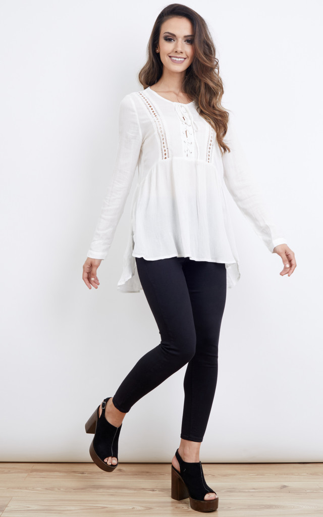 Lace Up White Dipped Hem Blouse by Glamorous