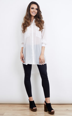 Sheer White Button Up Blouse by Glamorous Product photo