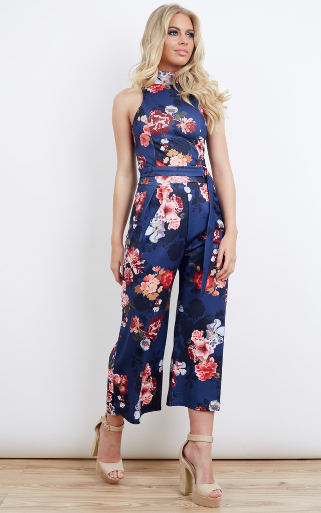 Navy Floral High Neck Culotte Jumpsuit by Bella and Blue