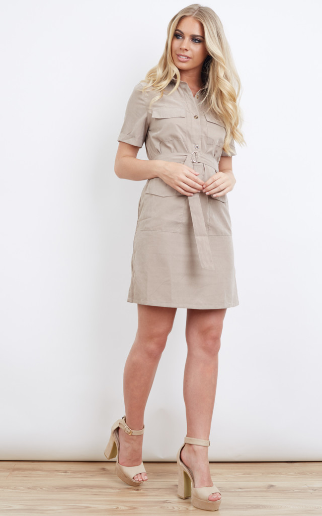 Camel Suede Shirt Buckle Tie Dress by Lola May