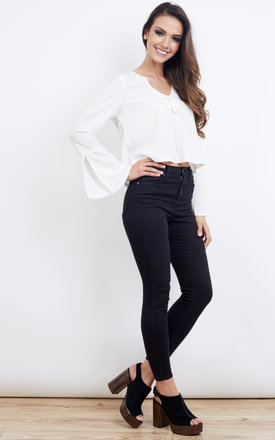 Tie Flared Sleeve Blouse Ivory by Lola May