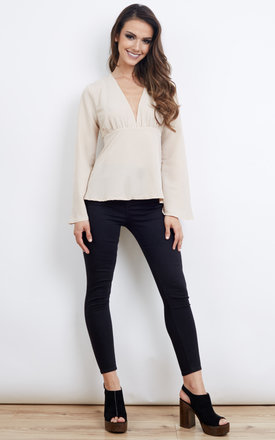 Nude Flared Sleeve Blouse with Back Tie by Lola May