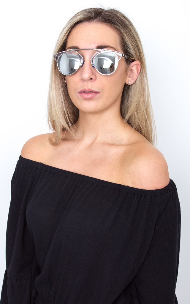 Silver Mirrored Framed Sunglasses by Pretty Lavish