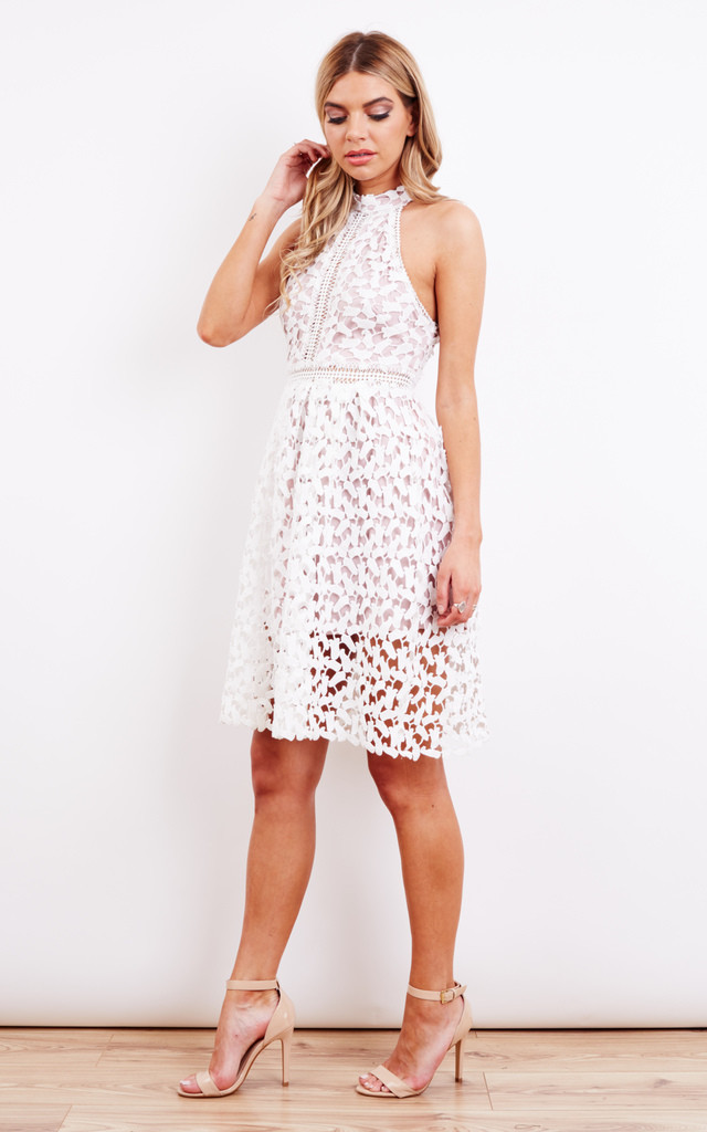 White Halter Neck Cut Out Dress by Love Triangle