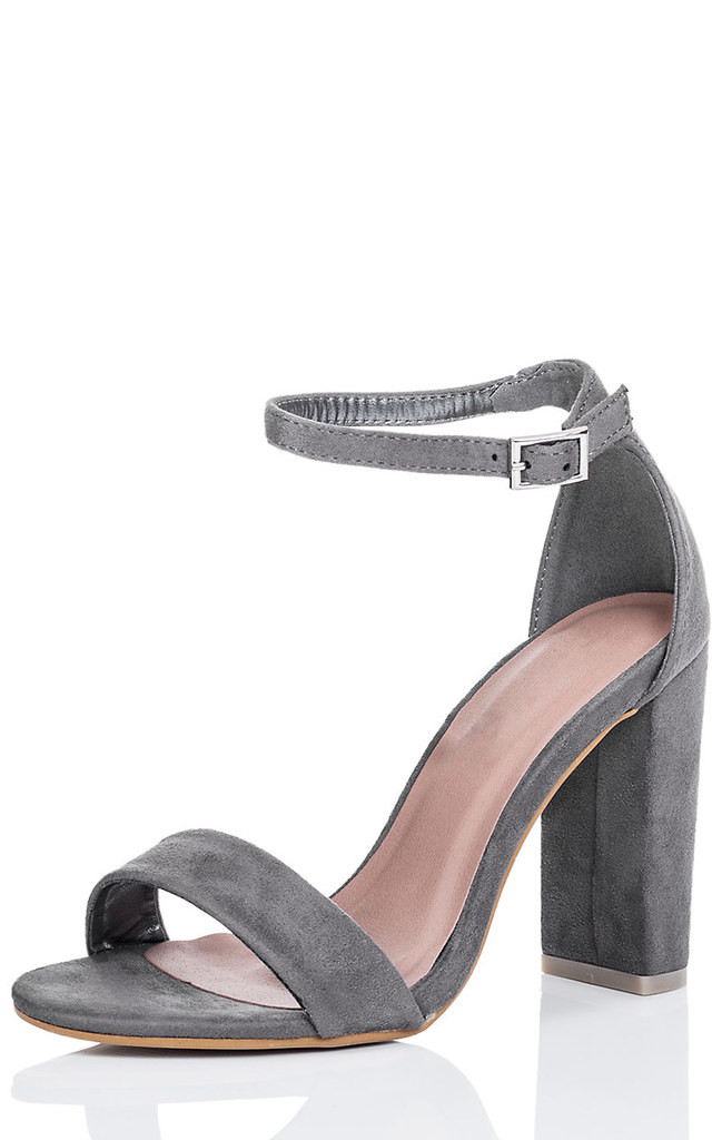 CIARA Block Heel Barely There Sandals Shoes - Grey Suede Style by SpyLoveBuy
