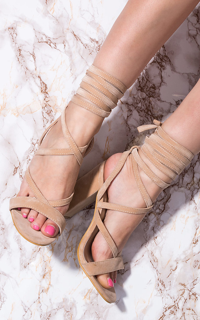ALLEGRA Lace Up Block Heel Sandals Shoes - Nude Suede Style by SpyLoveBuy