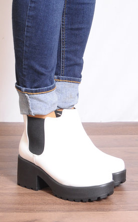 White Black Pu Leather Cleated Platforms Ankle Boots by Shoe Closet
