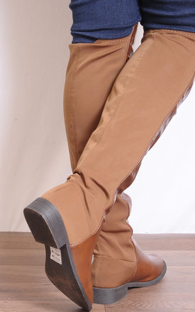 Brown Tan Over the Knee Flat Ridding Boots by Shoe Closet