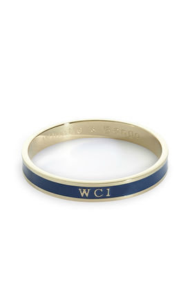 'WC1' London Postcode Bangle in Navy/Gold by Florence London