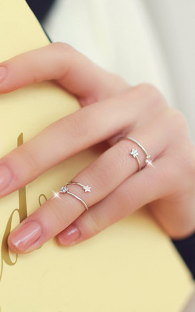 Tiny Star Rings Set In White Gold by DOSE of ROSE