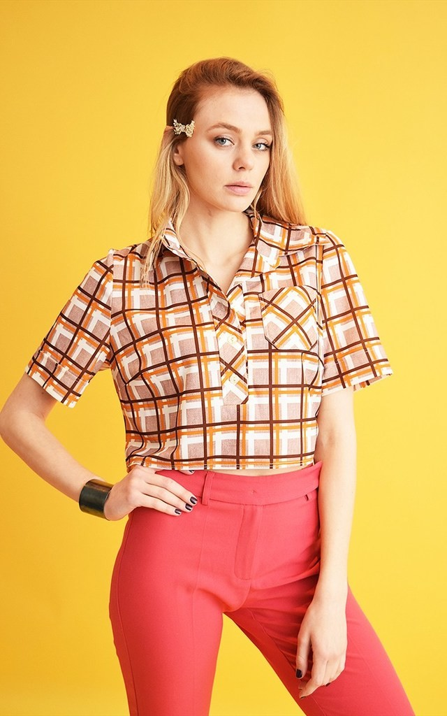 80's Mod Boho festival checked country crop top shirt by Lover