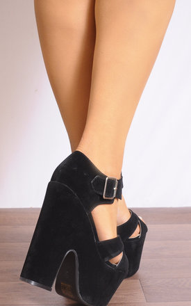 Black Chunky Wedged Platforms Wedges Strappy Sandals High Heels by Shoe Closet