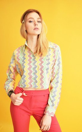 70's retro Hippie Mod abstract pattern crop top shirt by Lover