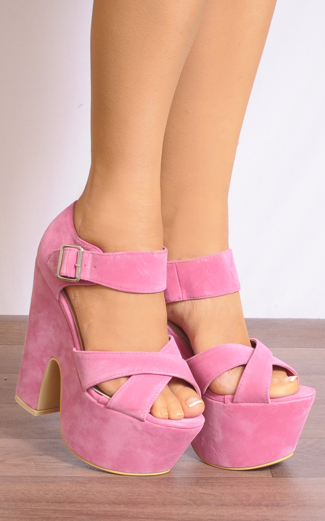 Candy Pink Chunky Wedged Platforms Wedges Strappy Sandals High Heels by Shoe Closet
