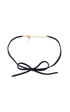 Suede Bow Choker In Black by DOSE of ROSE