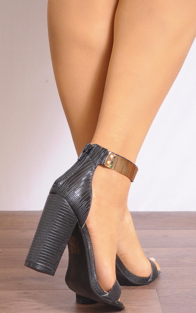 Black Lizard Strappy Sandals with Gold Ankle Cuff by Shoe Closet