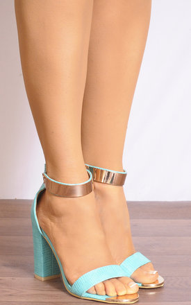 Jade Green Lizard Print Gold Ankle Cuff Barely There Strappy Sandals by Shoe Closet