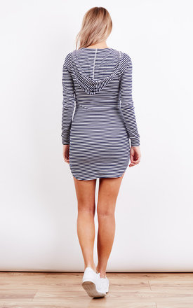 Stripe Hooded Long Sleeve Drawstring Detail Mini Bodycon Dress by Glamorous