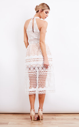 Ivory Halter Neck Cut Out Midi Dress by Jarlo