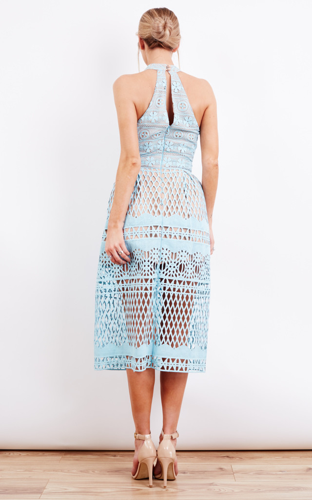 Blue Halter Neck Cut Out Midi Dress by Jarlo