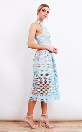 Blue Halter Neck Cut Out Midi Dress by Jarlo Product photo