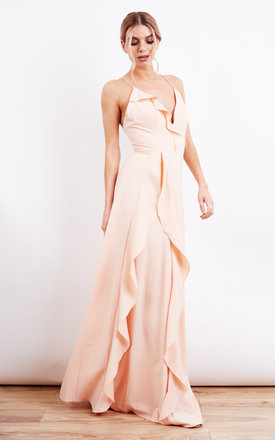 Pink Frill Detail Structured Strap Maxi Dress by Jarlo Product photo