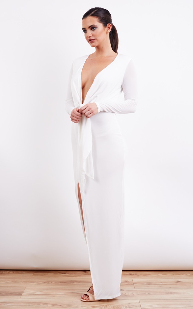 Ivory Plunge Tie Slinky Long Sleeve Maxi Dress With Side Split by Jarlo