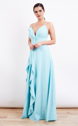 Blue Frill Detail Structured Strap Maxi Dress by Jarlo Product photo