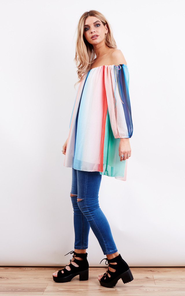 Off Shoulder Tie 3/4 Sleeve Blue Rainbow Top by Bella and Blue