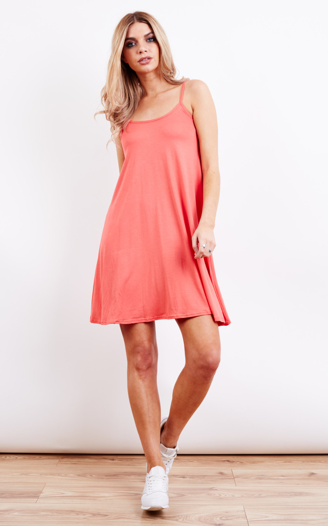 Thin Strap Swing Dress Coral by Lilah Rose