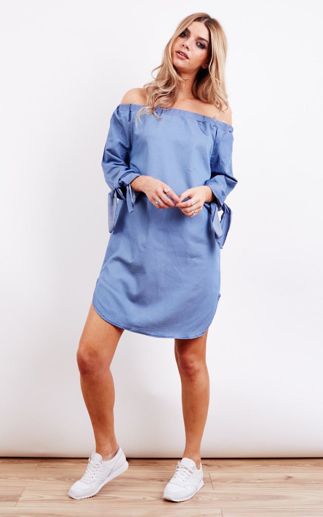 Off The Shoulder Long Denim Dress by Lilah Rose